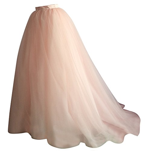 Long Tulle Train (Flowerry Women Tutu Tulle Skirt Bridesmaid Skirt Maxi Skirt with Short Train pink L)