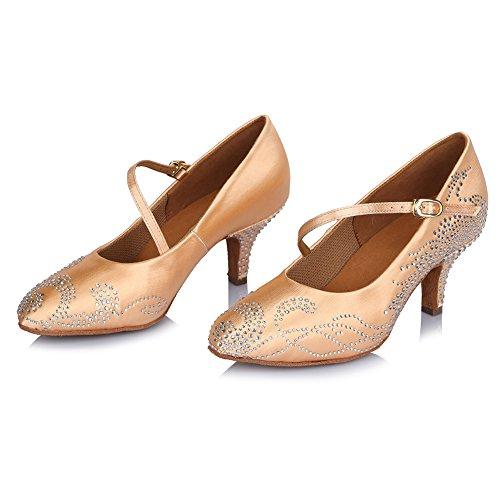 Beige Dance Women's AFCT306 Shoes Salsa Model Performance Latin Shoes Ballroom with Tango Roymall Rhinestone RwOEdqR
