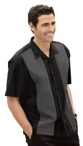 Retro Bowling Shirt, Black/Steel Grey, -