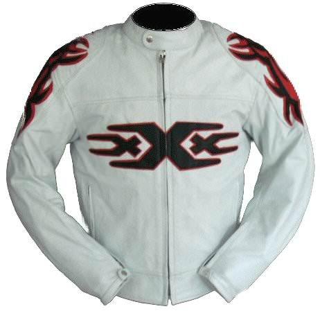 kc007 chaqueta moto quad piel blanco Karno - Triple XXX ...