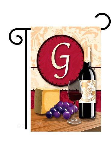 Wine Standard Monogram - Breeze Decor G180215 Wine G Initial Happy Hour & Drinks Wine Impressions Decorative Vertical Garden Flag 13