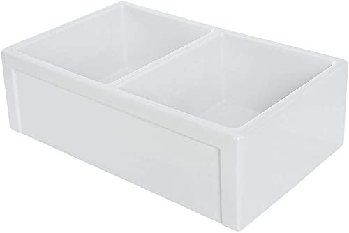 Transolid FUDR332010 Aries Fireclay Double Bowl Reversible Farmhouse Kitchen Sink, White