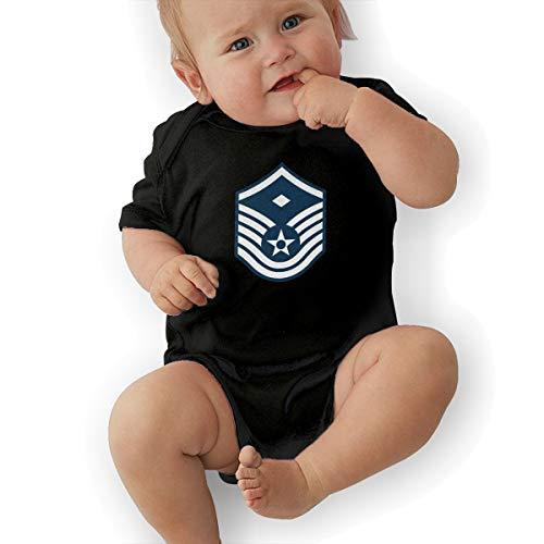 Air Force Master Sergeant 1st SGT Diamond Rank Funny Baby Onesies Novelty Toddler Infant Bodysuits Short Sleeve 0-3M Black