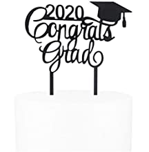 Awyjcas 2020 Congrats Grad Cake Topper - Class of 2020 Graduate Party Decorations Supplies - High School Graduation, College Graduate Cake Topper (Black)…