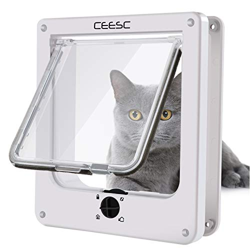 (CEESC Cat Doors, Magnetic Pet Door with Rotary 4 Way Lock for Cats, Kitties and Kittens (Medium, White))