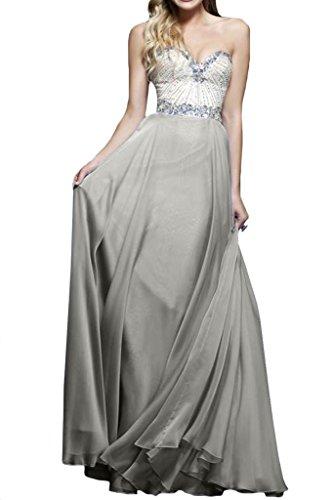 a Fest Strass ressing Cuore ivyd da Argento abito prom Donna Scollo dress sera della linea vestiti A zY44Wn1