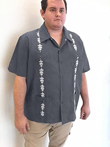 YNIGO Guayabera Shirts for Men – Embroidered Guayabera Shirt with Snap Button