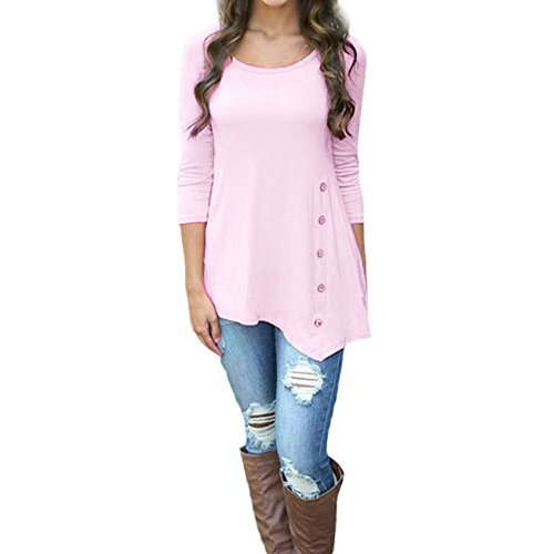 Women Blouse Long Sleeve Loose Tops Button Trim Solid Color Round O Neck Tunic Swing T-Shirt Casual Clothes (Pink, L) (Striped Reds Shirt Cincinnati)
