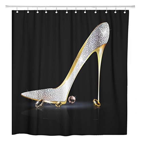 (ArtSocket Shower Curtain Silver Diamond Dark and The Ladys Shoe Spiky Crystals Home Bathroom Decor Polyester Fabric Waterproof 72 x 78 Inches Set with Hooks)