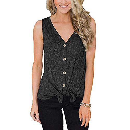 ZSIIBO Women's V Neck Front Tie Knot Button Up Tank Tops Casual Sleeveless Shirts Loose Vests BX02 (Gray, XL)