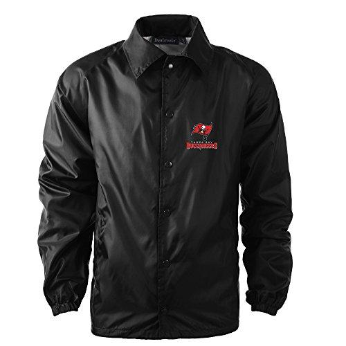 Bay Buccaneers Tampa Jacket (Dunbrooke Apparel NFL Tampa Bay Buccaneers Men's Coaches Windbreaker Jacket, 4X, Black)