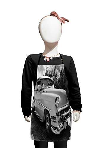 Lunarable Vintage Kids Apron, 50s 60s Retro Classic Pin Up Style Cars in Hollywood Movies Image Artwork, Boys Girls Apron Bib with Adjustable Ties for Cooking Baking and Painting, Black -