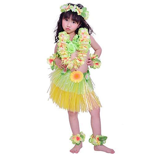 Girl's Hawaiian Hula Skirt Costume Set with Sunflower, Including Wreath Necklace Bracelet Headband Bikini Foot Ring, Yellow + Green]()