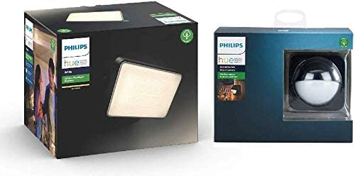 Philips Hue White Projecteur Extérieur WELCOME Aluminium Noir + Hue Détecteur de...