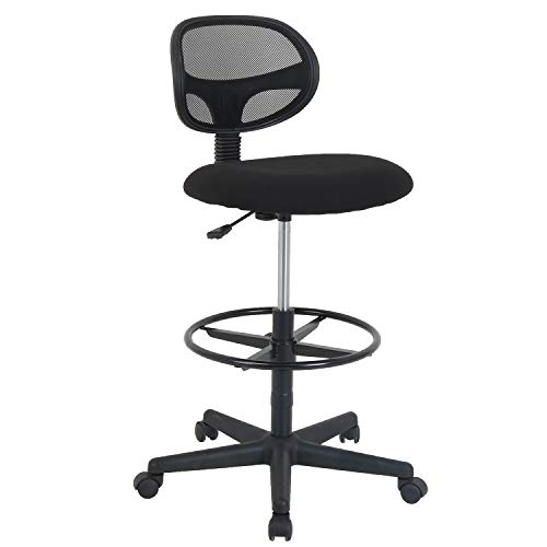 LCH Ergonomic Drafting Stool Mesh Back Desk Chair Adjustable Foot Rest Without Arms in Black -