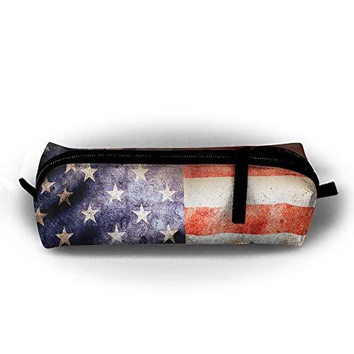 Flag Gel Pen - Mrshelp Vintage American Flag 3D Print Pencil Bag Fashion Pc Bag for Pens,Pencils,Highlighters,Gel Pen,Markers,Eraser and Other School Supplies Unisex