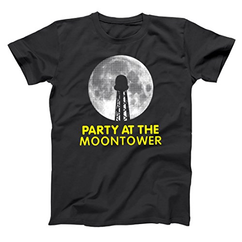 Party at The Moontower Funny Hip Cool Retro Moon Tower Party Dazed Confused Classic 90s Movie Humor Mens Shirt Small Black ()