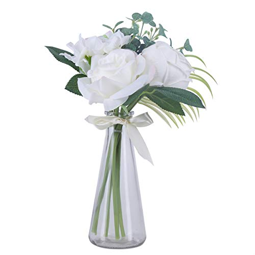 Artificial Rose Bouquet with Glass Vase Fake Silk White Flower Arrangement for Table Home Office Wedding Decor (Large Artificial Flower Arrangements For The Home)