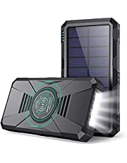 Feob Wireless Power Bank Portable Charger 30800mAh, Solar Charger【Dual QC 4.0 PD 25W+15W Fast Wireless Charging】External Battery Pack with 4 Output & 3 Input Compatible with iPhone Samsung Google LG AirPods iPad