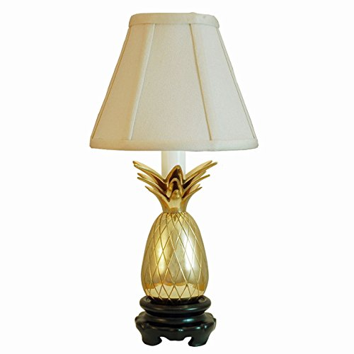 Brass White Shade Pineapple - LAMPS - SAVANNAH PINEAPPLE ACCENT LAMP - POLISHED BRASS - OFF WHITE SHADE - 11