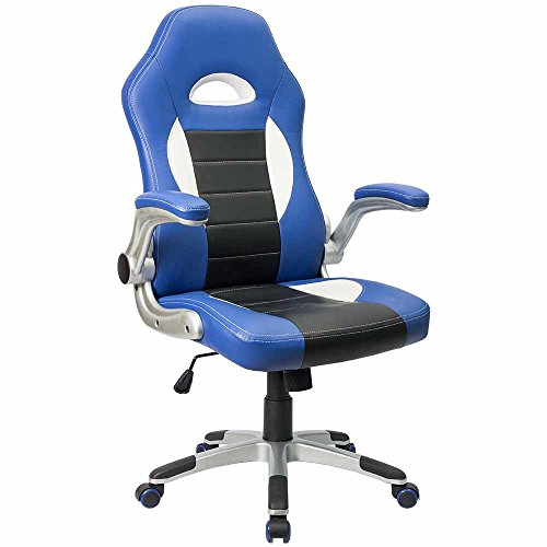 Furmax Gaming Chair Executive Racing Style Bucket Seat PU Leather Office Chair Computer Swivel Lumbar Support Chair (Blue)