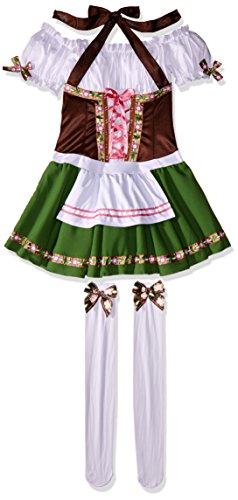 [Leg Avenue Women's 2 Piece Gretchen Costume, Brown/Green, Medium] (German Dress)
