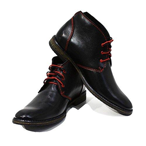 Modello Ferrara - 10 US - Handmade Italian Mens Black Ankle Chukka Boots - Cowhide Smooth Leather - (Cowhide Mens Chukka)