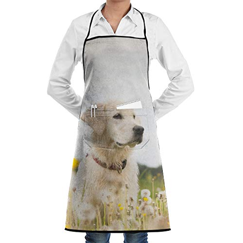 Adseaz Golden Retriever On Dandelion Bush Apron with Pocket,Convenient and Adjustable, Design for Outdoor Grill