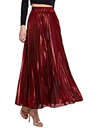 Women's Premium Metallic Shiny Shimmer Accordion Pleated...