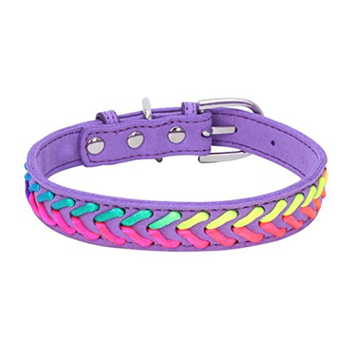 Woaills Puppy Pet Collars, Dog Knitting Exquisite Adjustable Rope Leashes Necklace (XS, Purple)