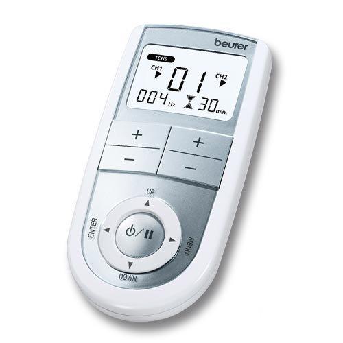 Beurer EM-41 - Electro estimulador digital, 2 canales, EMS/TENS/Masaje, color blanco y plata 51.51€