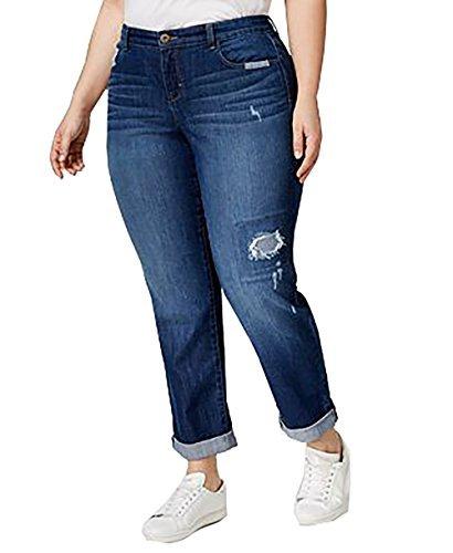 Style & Co. Womens Plus Malibu Wash Curvy Boyfriend Jeans Blue 18W