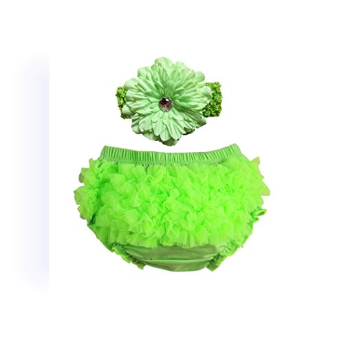 Price comparison product image Baby Girl Ruffle Pants Dealzip Inc Bloomers With Headband-Green Size M