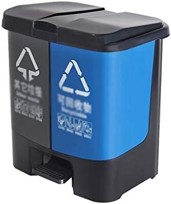 滑らかな表面 大容量ゴミ箱缶、プラスチック製のクラムシェルリムーバブルのごみ箱学校教室オフィスビルのごみ箱ダブルバケツ リサイクル可能なデザイン (Color : A, Size : 40.5*29*55.5CM)