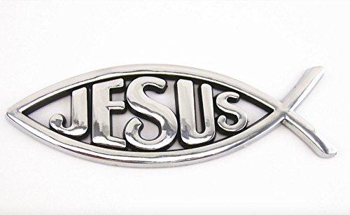 3D Chrome Christian Jesus Fish Emblem Sticker Religious Plastic Ichthus Symbol 2 Pcs (Pressure Wash Muffler compare prices)