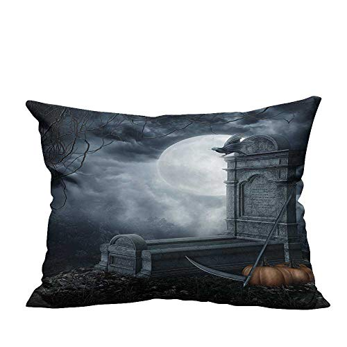 YouXianHome Pillow Case Cushion Cover Halloween Scenery with a Spooky Tombstone and Pumpkins Printing Dyeing (Double-Sided Printing) 19.5x30 inch -