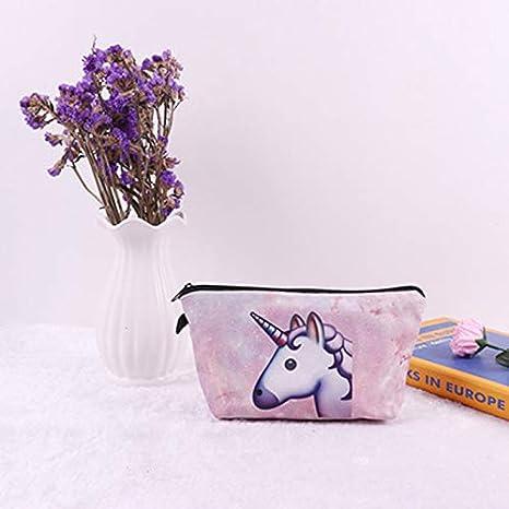 Impermeable Bolso de Cosméticos con Cremallera Patrón de Unicornio Bolsas de Aseo Neceser de Maquillaje Bolsa de Lavado de Almacenamiento para Mujer Niña: ...