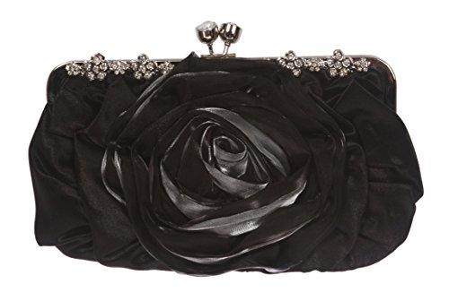 Gathered & Rose Trim Evening Bag Color: Black - Gathered Tote Bag