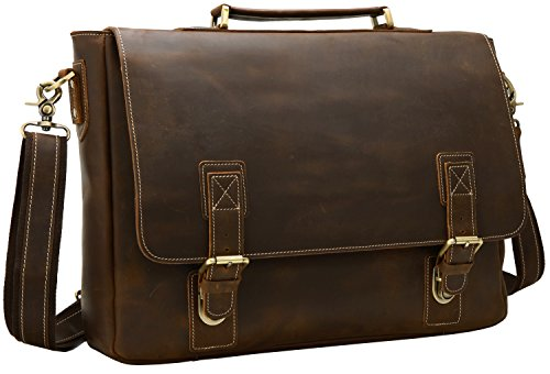 Iswee Quality Leather Men's Messenger Bag for 16'' or 17'' Laptop Vintage Satchel Briefcase Shoulder Bag for Traveling and Working (Medium Dark Brown) by Iswee