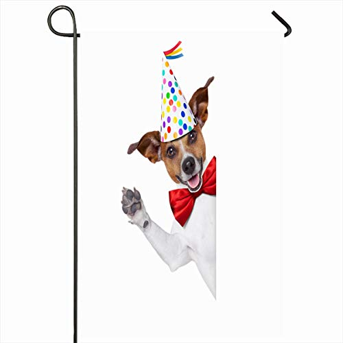 Ahawoso Seasonal Garden Flag 12x18 Inches Frame Birthday Jack Russell Dog Surprise Behind Terrier White Party Pet Funny Balloons Design Glasses Home Decorative Outdoor Double Sided House Yard Sign