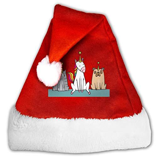 FQWEDY A Cat (Caticorn) and A Pug (unipig) Unisex-Adult's Santa Hat, Velvet Christmas Festival Hat ()