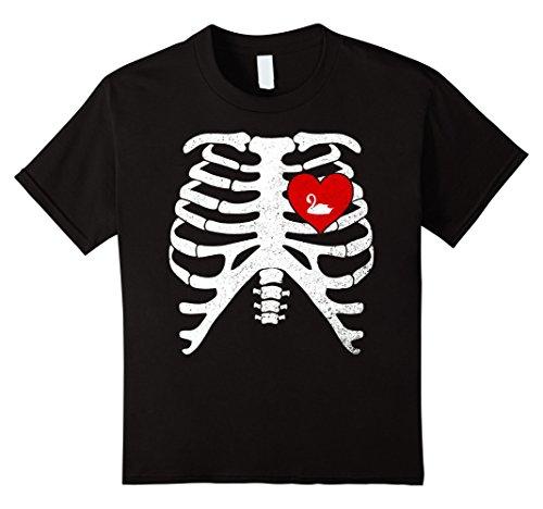 Black Swan Halloween Costume For Kids (Kids Skeleton Rib Cage TShirt Halloween Costume For SWAN Lovers 12 Black)