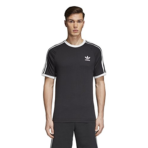 adidas Mens Originals 3 Stripes Tee, Black, L
