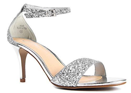J. Adams Low Ankle Strap Heel, Silver Glitter, 11 B(M) ()
