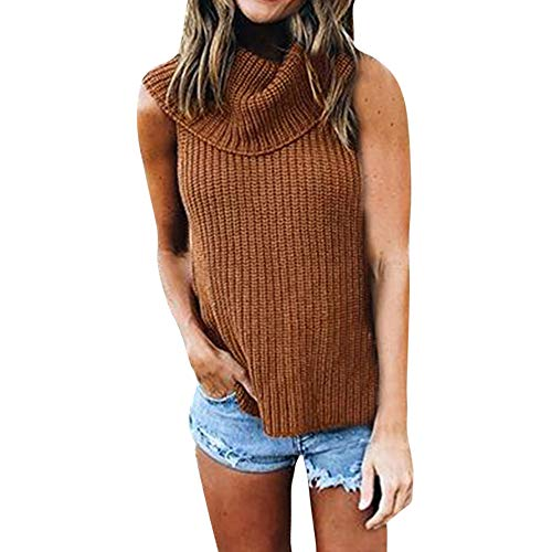 - Knit Sweater,Fashion Women Solid Turndown High Collar Knitted Warm Sleeveless Turtleneck by-NEONESUN