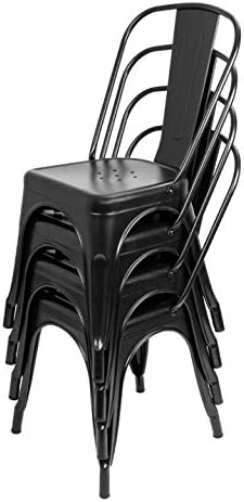 Bigacc Stackable Chair Restaurant Metal Chairs Set of 4 18″Seat Height Dining Cafe Chair