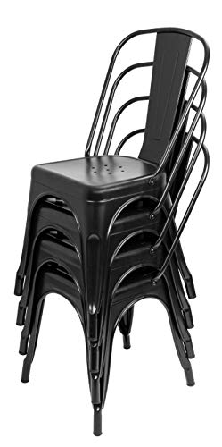 Bigacc Stackable Chair Restaurant Metal Chairs Set of 4 18 Seat Height Dining Cafe Chairs with Back Industrial Tolix-Style Classic Chic Bar Chairs for Indoor Outdoor Kitchen Farmhouse Bistro Trattoria