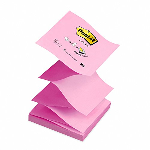 (Post-it Z Notes - Neon and Pastel Pink - 12 Pads Per Pack - 100 Sheets Per Pad - 76 mm x 76 mm)