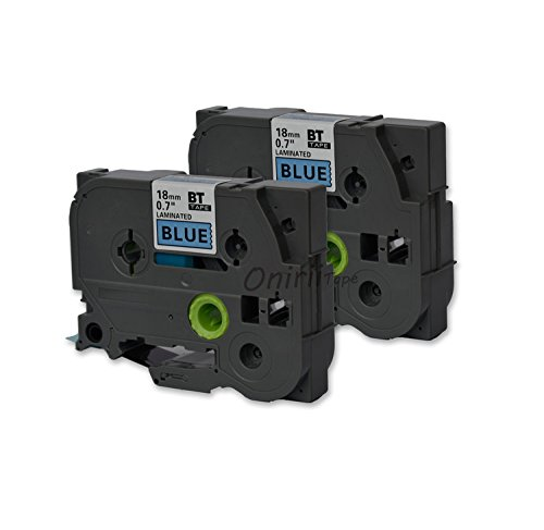 "2PK Onirii Compatible brother p touch label maker tapes TZ541 TZe541 TZ-541 TZE541 ~3/4"" (0.7"")18mm x 26.2ft(8m) Black on Blue Standard Laminated Tape for brother P-Touch Label Makers & Printers"