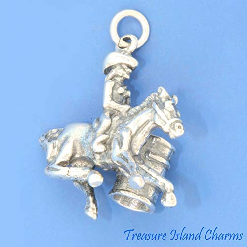 Barrel Racing Female Horse Racer Rodeo Cowgirl .925 Sterling Silver Charm Cowboy DIY Jewelry Making Supply for Charm Pendant Bracelet by Charm Crazy